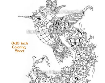 follow me fairy tangles printable coloring page by norma j burnell fairy riding hummingbird adult coloring - Coloring Pages Dragons Fairies