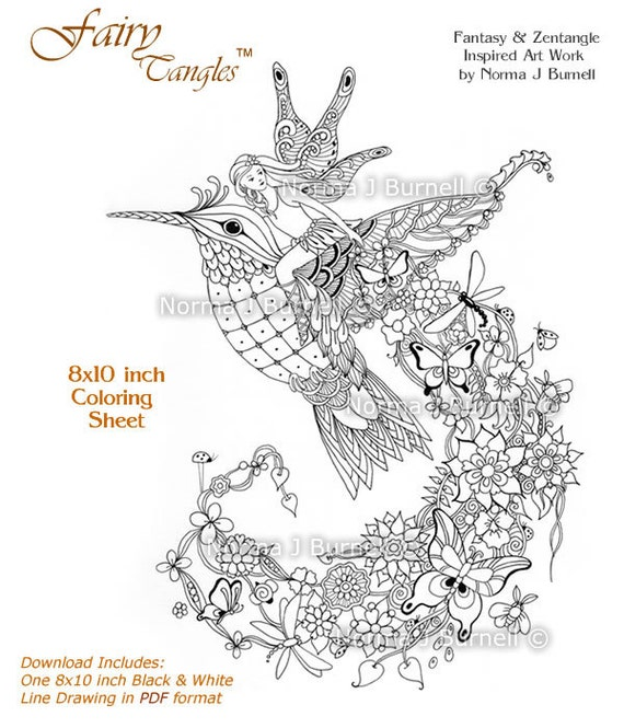 Follow Me Fairy Tangles Printable Coloring Page By Norma J Burnell Riding Hummingbird Adult Books Fairies And Birds To Color