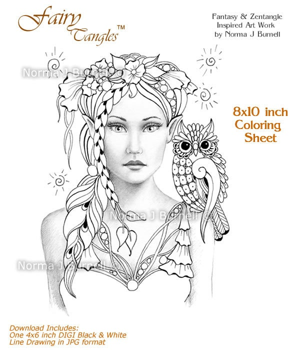 Opal And Lupine Fairy Tangles Printable Coloring Book Sheets By Norma J Burnell Pages