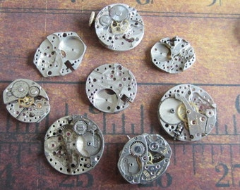 Featured - Steampunk supplies - Watch movements - Vintage Antique Watch movements Steampunk - Scrapbooking v44