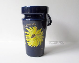 Sunflowers Travel Mug Hand Painted Coffee Cup You Are My Sunshine Yellow Flowers on Blue Ceramic Original Design Modern Rustic Home Decor