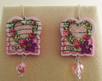 Heart earrings - Love postage stamps