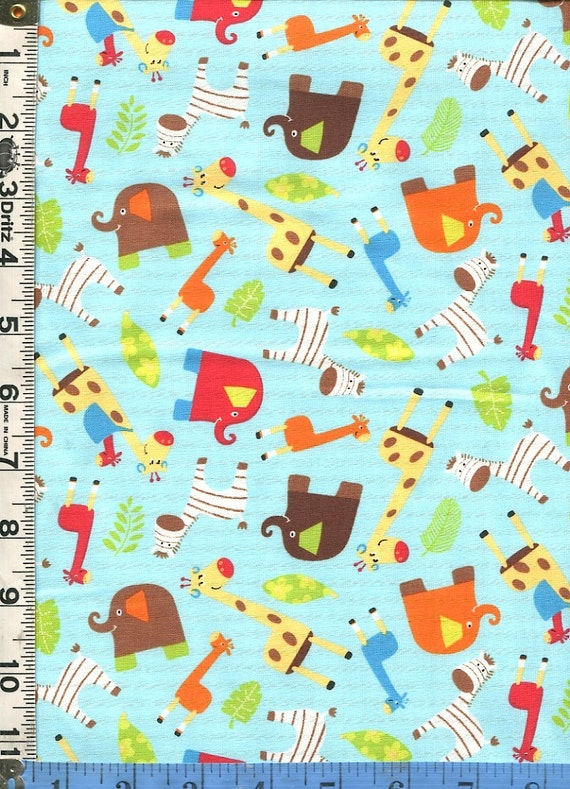 Fabric marcus monkey mates kids colorful jungle animals for Childrens jungle fabric