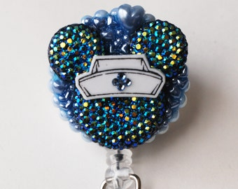 Nurse Minnie Mouse Shimmery Blue Silhouette ID Badge Reel - RN ID Badge Holder - Zipperedheart
