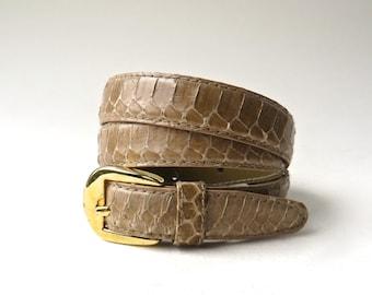 80s vintage Toffee Brown Snakeskin Belt