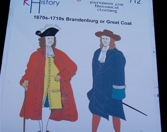 SALE   1670s-1710s Brandenburg or Great Coat Pattern Reconstructing History Clothing Pattern  712