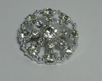Vintage rhinestones broochsilver tone metal and Rhionestones Brooch, pin