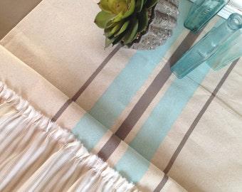 French Grainsack Canvas Table Runner with Khaki Stripe Ticking Ruffles  Nautical/Beach Cottage/Farmhouse