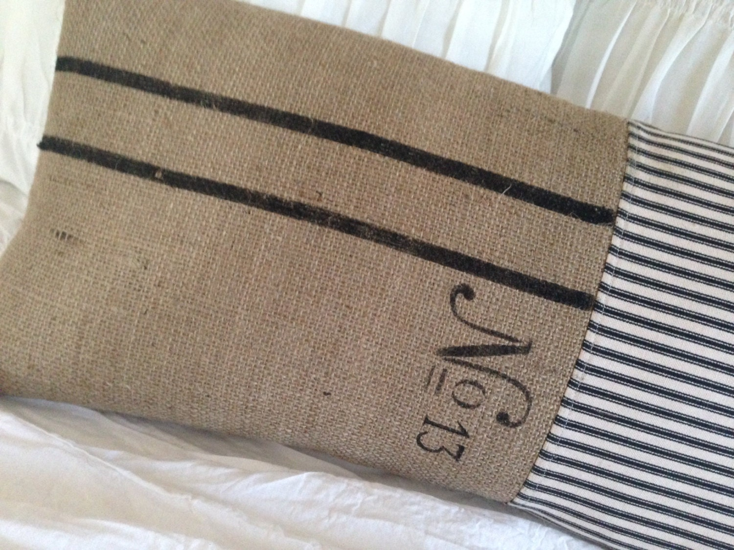 French Farmhouse Grainsack Pillow Burlap Pillow With Black And