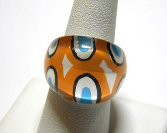 Abstract Design Orange Blue White Lucite Vintage Ring