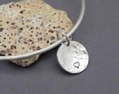 Silver Heart Charm Bangle Bracelet Handmade
