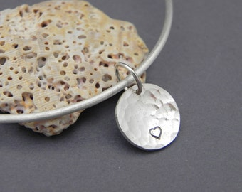Silver Heart Charm Bangle Bracelet Handmade