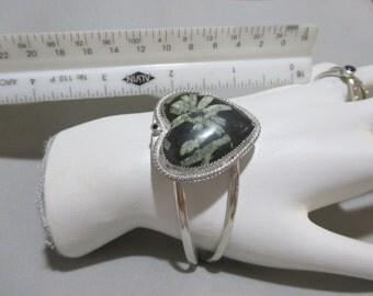 Chrysanthemum Stone Cuff Bracelet Sterling silver