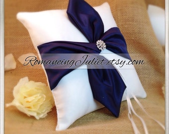 Knottie Ring Bearer Pillow with Rhinestone Accent...You Choose the Colors....Buy One Get One HALF OFF..shown in white/navy blue midnight