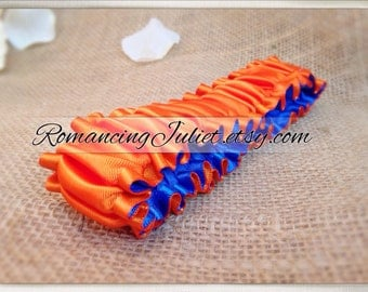The Original Fully Reversible Bridal Garter..You Choose The Colors..shown in orange/royal blue