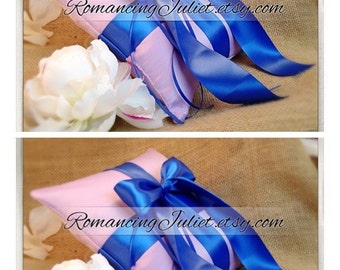 Romantic Satin Ring Bearer Pillow...You Choose the Colors...SET OF 2...shown in lilac/royal blue