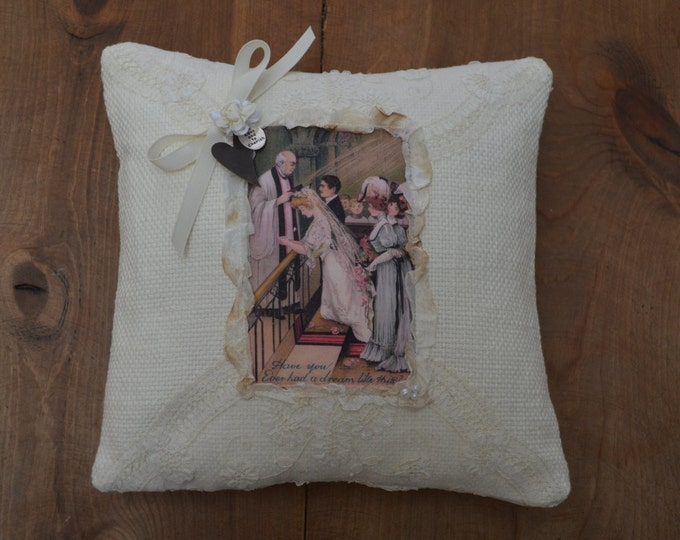 "Wedding Ring Bearer Pillow ""At the Altar"""