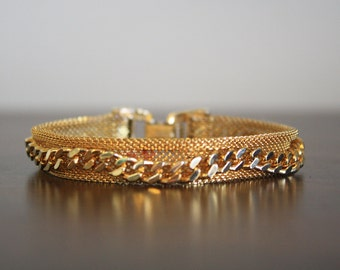 Gold Mesh Sarah Coventry Bracelet with Chain