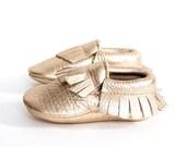 Fringe Baby Moccasins Metallic Gold