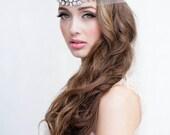 Illusion Crystal Rhinestone Headband with silk ties