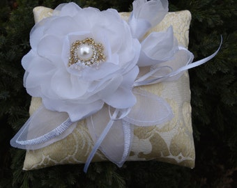 Wedding Pillow With White Colored Flower and Blossoms - Ring Bearer Pillow - Wedding Ring Pillow