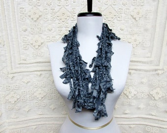 GladRagz Circle of Chains Necklace Scarf in Gray and Charcoal Ready to Ship Infinity Scarf Circle Scarf Shredded Knotted Scarf Crochet Scarf