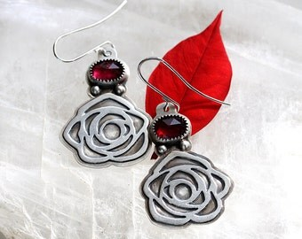 Hot Pink Tourmaline Earrings/ Rose Earrings/ Textured Sterling Silver/ Floral Motif/ Art Deco Roses/ Red Pink earrings/ Valentines Day