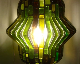 Ninety Degrees, Diverted series, Recycled Glass Mosaic Lamp - Mixed Greens