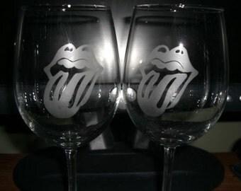 Set Of 2 Rolling Stones Wine Glasses