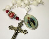 Catholic Chaplet, White jade, Our Lady of Perpetual Help, Red Rose