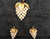 Reserved for SISI Vintage TRIFARI Clip On Earrings and Brooch Set Gold and Faux Pearl Grape Bunch Intricate Detail