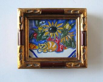 Shabby Cat and Sunflowers Painting, Acrylic on Canvas, Framed Art, Home Decor, gift idea
