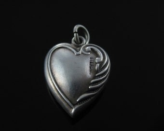 Vintage Sterling Silver Puffy Heart Charm Inscribed EFH