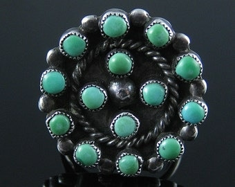 Vintage Zuni Style Sterling Silver Turquoise Ring Size 8.25