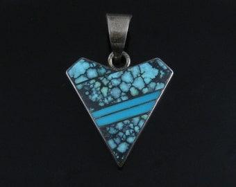 Pendant, Sterling Silver, Arrow Head Shape, Blue Designer, Southwestern, Inlaid Turquoise, Large Silver Pendant