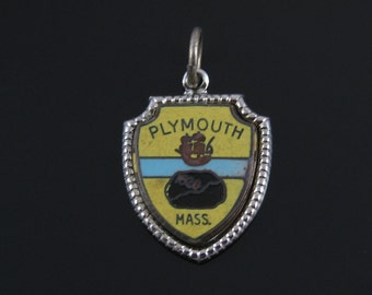 Vintage Sterling Silver Plymouth Rock Massachusetts Traveler Shield Enamel Charm