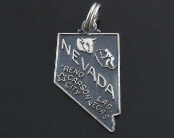 Vintage Sterling Silver Nevada State Cut Out Charm