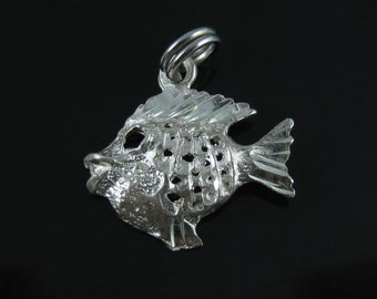 Vintage Etched Sterling Silver Fish Charm