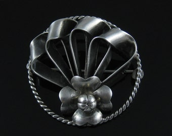 Vintage Sterling Silver Large Abstract Brooch