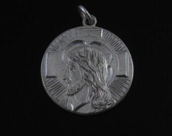 Vintage Sterling Silver Jesus Christ Pendant - I AM A Methodist  Medallion