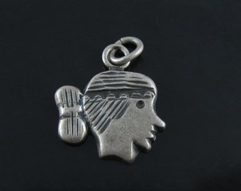 Vintage Sterling Silver Etched Native American Face Charm