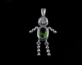 Charm, Vintage, Sterling Silver, Girl / Boy, Light Green ,Cubic Zirconia Pendant