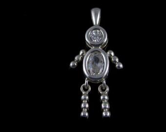 Vintage Boy / Girl Cubic Zirconia Sterling Silver Charm