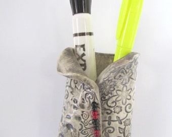 Refrigerator Magnet Beaded Vase Marker Pencil Chalk Holder Handmade Stoneware Pottery