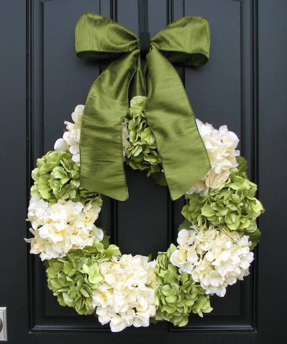 "Hydrangea Wreaths, Summer Hydrangea Blooms, 22"" Hydrangea Wreath, Front Door Wreath, Summer Front Door Wreath, Burlap for Wreaths"