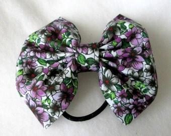 Purple Flower Ponytail Hair Bow