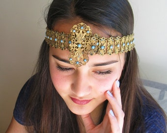 French Algerian Antique Headband in Brass Filigree,Enamel and Persian Turquoise Late 1800's