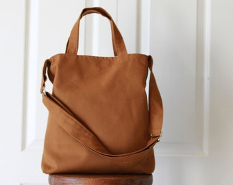 Organic Cotton Caramel Brown Kara Bag. Travel Bag. Briefcase. Purse. Canvas Tote.