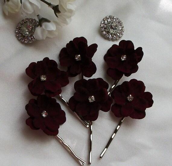 Burgundy VelvetWeddingBurgundy Hair AccessoriesHair FlowerWeddingWedding AccessoriesHai