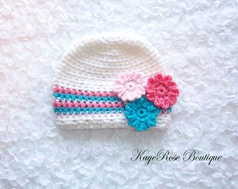 Newborn to 3 Month Old Baby Girl Crochet Flower Hat Pink Turquoise and White Stripes